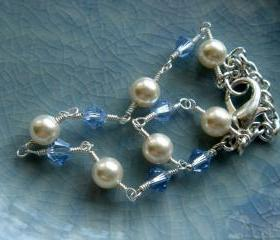 Madelyn Sapphire Birthstone Pearl Bridesmaid Wedding Bracelet