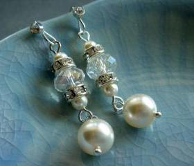 Danice Elegant Long Swarovski Crystal and Pearl Bridal Earrings