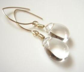 Unforgettable Clear Quartz Wedding 14k Gold Filled Earrings