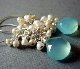 Sea Foam Chalcedony Freshwater Pearl Cluster Sterling Silver Earrings