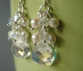 Swarovski Crystal and Pearl Cluster Bridesmaid Earrings