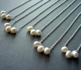 Set of 5 Freshwater Pearl Bridesmaid Sterling Silver Necklace