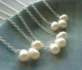 Set of 3 Freshwater Pearl Sterling Silver Bridesmaid Necklace
