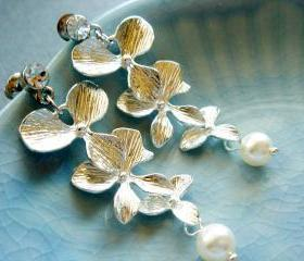 Penelope Silver Orchid Flower Pearl Bridal Earrings