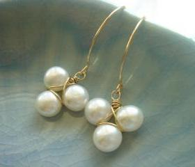Freshwater Pearl Flower 14k Gold Filled Earrings