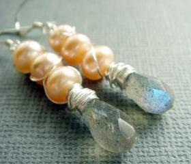 Flashy Natural Labradorite and Freshwater Pearl Sterling Silver Earrings