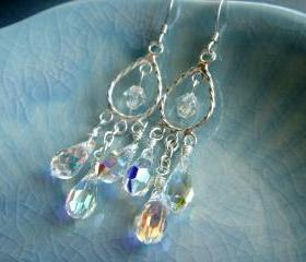 Rose Crystal Gunmetal Leverback Earrings