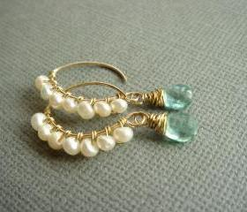 Romance Rich Apatite and Freshwater Pearl 14k Gold Filled Earrings