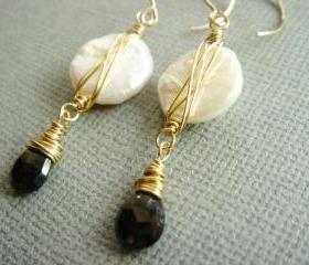 Eliza Elegant Black Spinel and Freshwater Pearl 14k Gold Filled Earrings