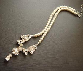 Hester Matching Vintage Style Pearl CZ Necklace and Earrings Bridal Set