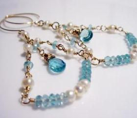 Aquamarine Birthstone Freshwater Pearl 14k Gold Filled Earrings