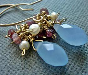 Precious Pink Tourmaline Freshwater Pearl Blue Crystal 14k Gold Filled Earrings