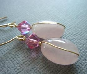 Rose Quartz Swarovski Crystal 14k Gold Filled Earrings