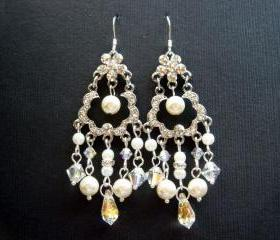 Alexisez Vintage Style Chandelier Pearl and Crystal Bridal 925 Earrings