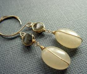 Louisa Charming 14k Gold Filled Lemon Quartz and Labradorite Earrings