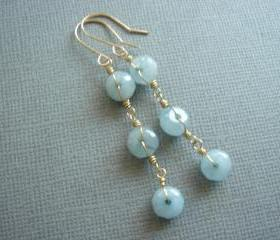 Long Sensuous Brazilian Aquamarine 14k Gold Filled Earrings