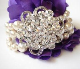 Gabriella Enchanting Wide Chunky Pearl and Crystal Bridal Bracelet