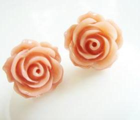 Vintage Pink Rose Stud Earrings