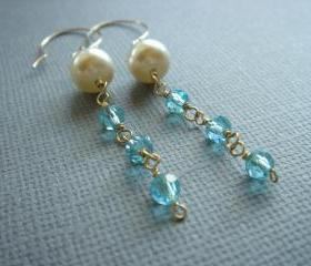 Bridesmaid Blue Crystal and Pearl 14k Gold Filled Earrings