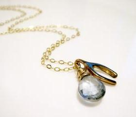 Gold Dipped Wishbone and Blue Quartz 14k Gold Filled Necklace