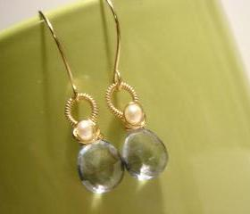 Lux Blue Quartz and Freshwater Pearl 14k Gold Filled Earrings