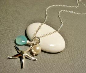 Beach Theme Wedding Chalcedony and Starfish Sterling Silver Necklace