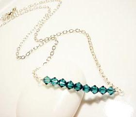 Teal Swarovski Crystal Bar Sterling Silver Everyday Necklace