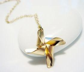 Matte Gold Windmill 14k Gold Filled Necklace