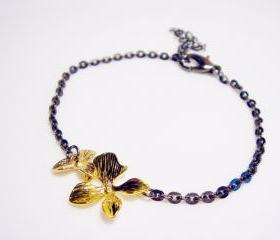 Contemporary Black and Gold Orchid Bracelet