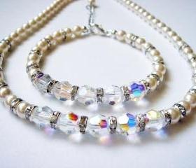 Lydia Sparkly Matching Crystal and Pearl Necklace and Bracelet Bridal Set