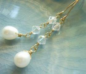 Delicate Freshwater Pearl and Swarovski Crystal 14k Gold Filled Earrings