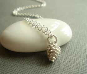 Delicate Sterling Silver Pine Cone Necklace