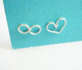 Infinite Love Infinity and Heart Silver Stud Earrings