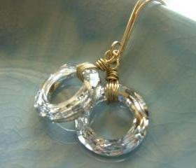 Silver Swarovski Crystal Hoop 14k Gold Filled Earrings