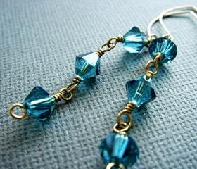 Striking Teal Swarovski Crystal Waterfall 14k Gold Filled Earrings