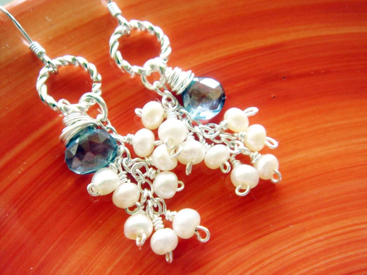 Distinctive Blue Quartz and Tiny Freshwater Pearl Sterling Silver Earrings