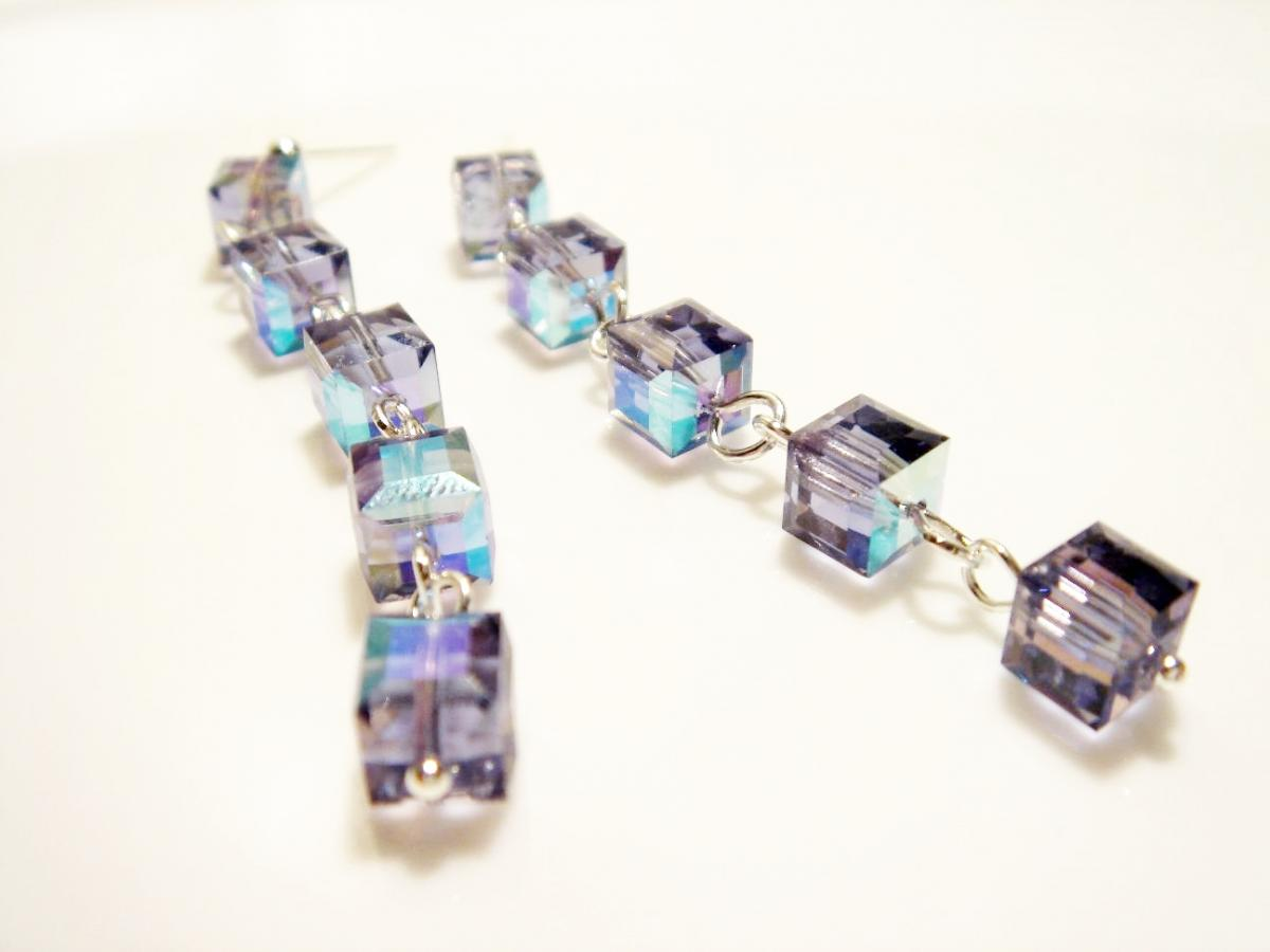 Pristine Tanzanite Swarovski Crystal Sterling Silver Earrings