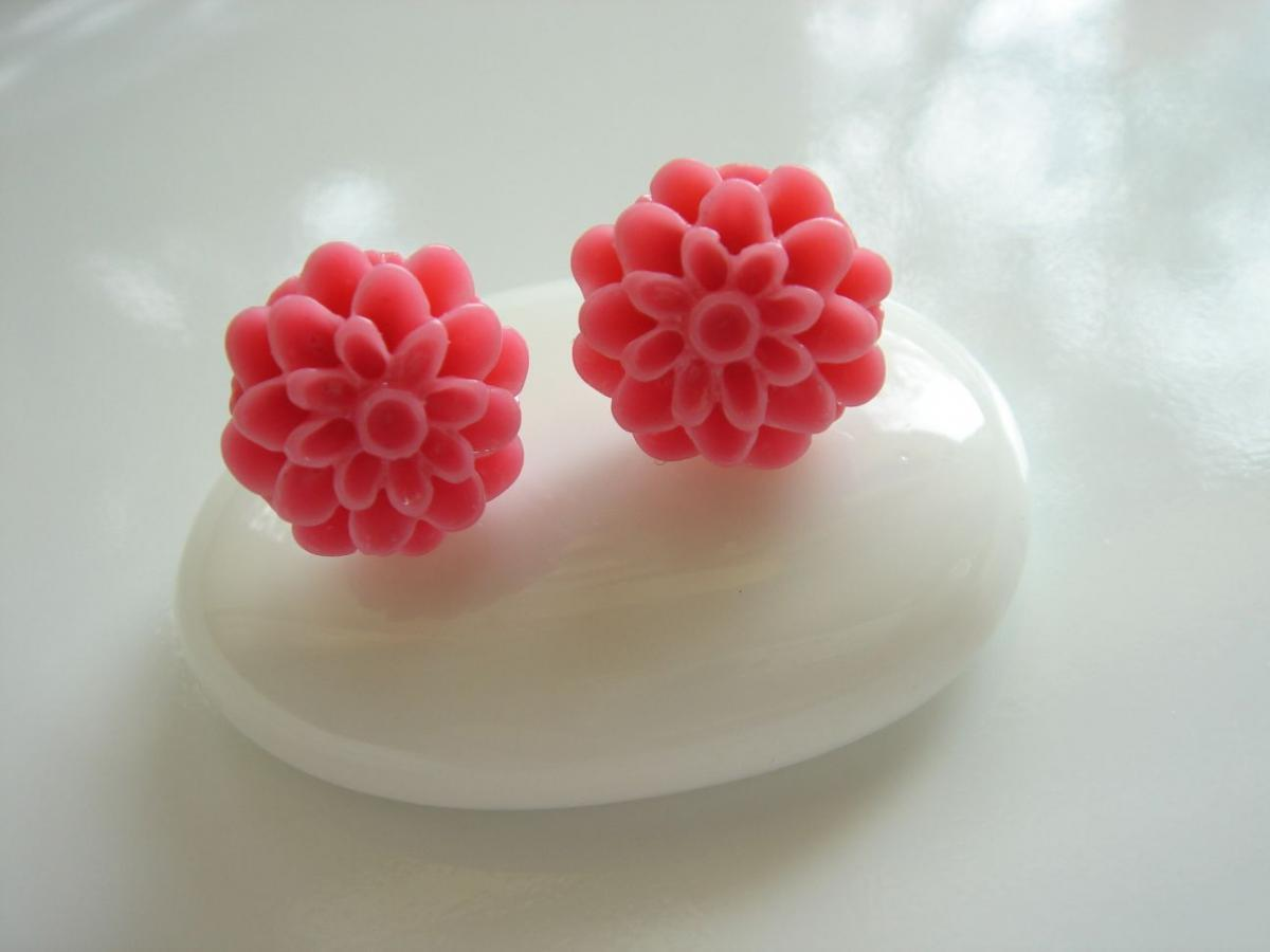 Hot Pink Resin Dahlia Flower Stud