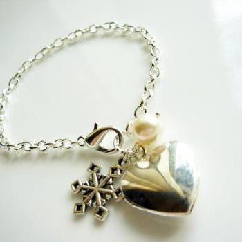 Snowflake Swarovski Pearl and Heart Locket Bracelet