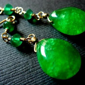 Emerald Green Onyx Drop 14k Gold Filled Earrings
