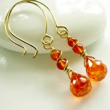 Sunshine CZ Carnelian 14k Gold Filled Earrings